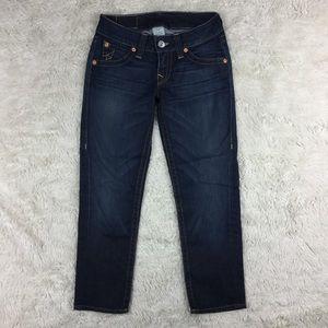 True Religion Sz 27 Cropped Dark Blue Jeans. E1